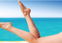 Beautiful legs like these, stretched out on a beach, motivate us to reduce cellulite with Adonia Organics serums