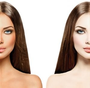 Before and after, showing a young woman with pale skin, and the same woman with face and shoulders now tanned and contoured.